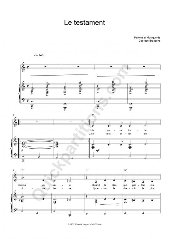 Partition piano Le testament - Georges Brassens