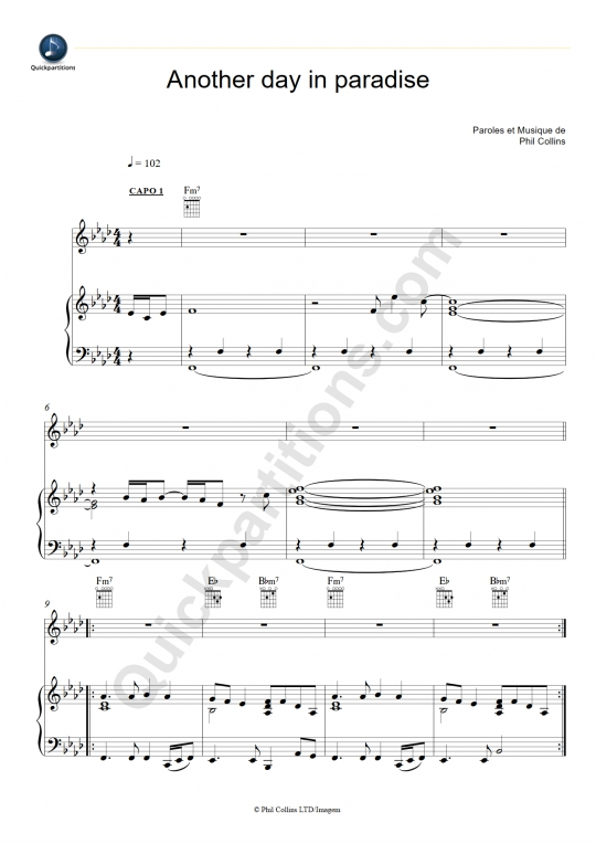 Another Day In Paradise Piano Sheet Music - Phil Collins