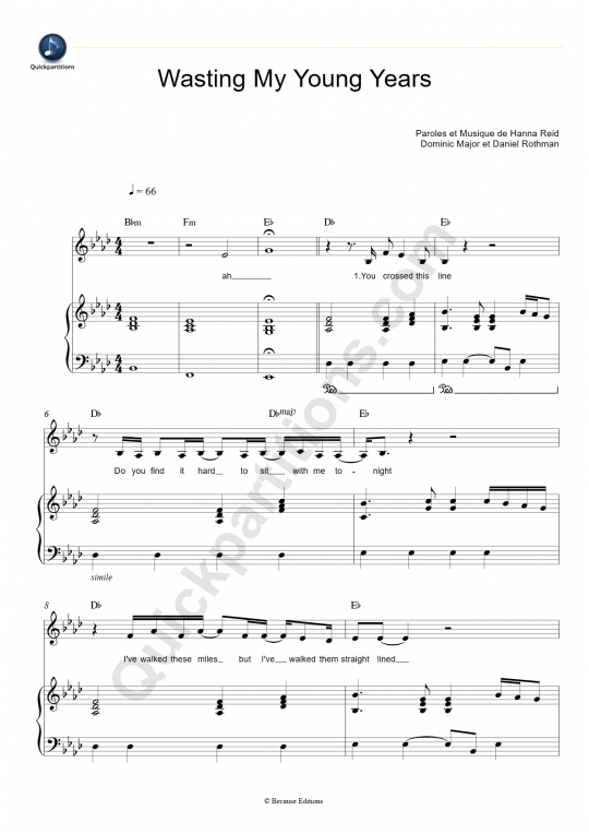 Wasting My Young Years Piano Sheet Music - London Grammar