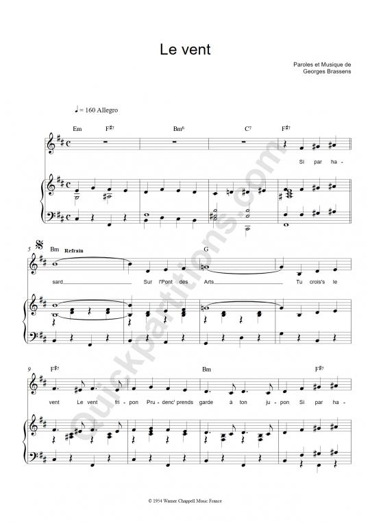 Partition piano le vent georges brassens partition - Les amoureux des bancs publics paroles ...