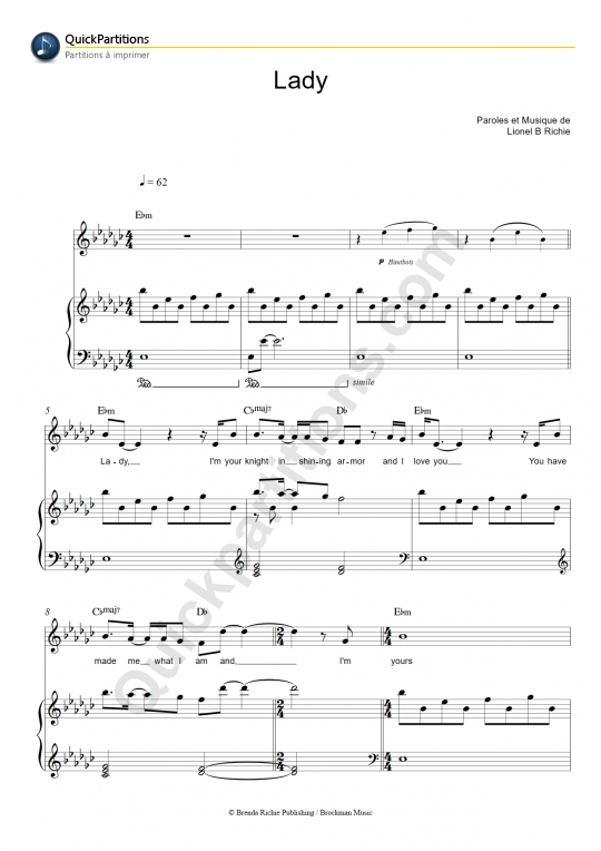 Lady Piano Sheet Music - Lionel Richie