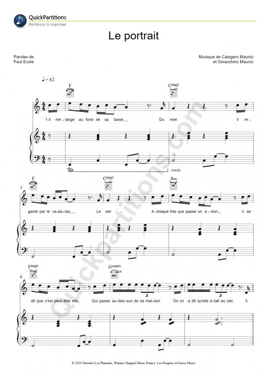Partition piano Le portrait - Calogero