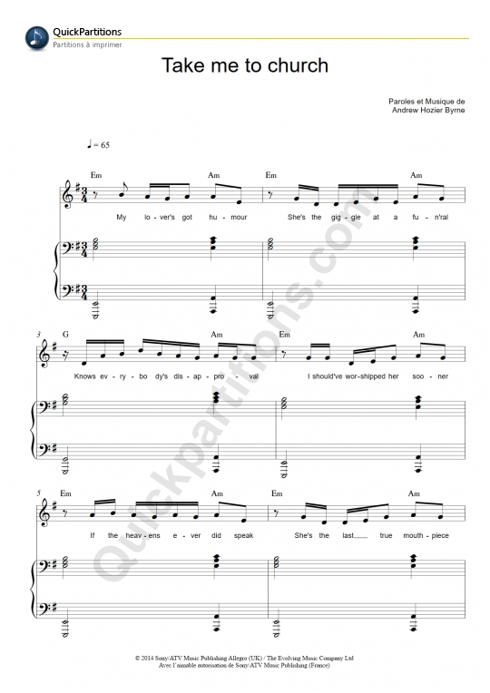 Take Me To Church Chords On Piano