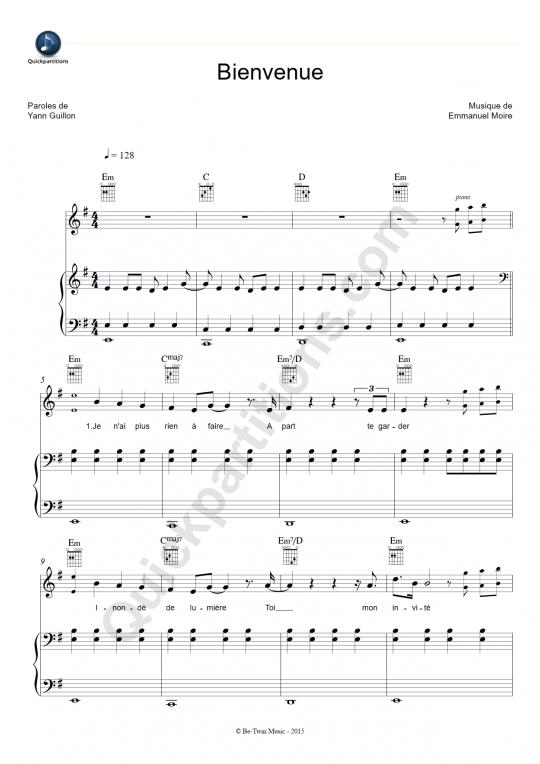 Partition piano Bienvenue - Emmanuel Moire