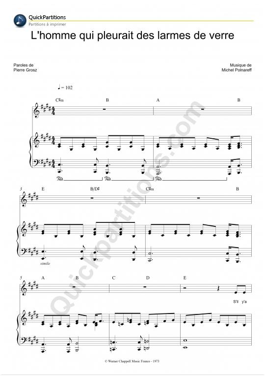 Partition piano L'homme qui pleurait des larmes de verre - Michel Polnareff