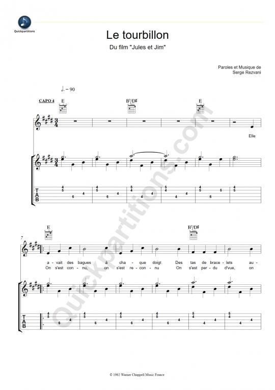 Tablature Guitare Le tourbillon - Jeanne Moreau