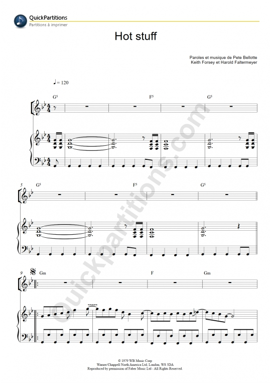 Partition piano Hot Stuff - Donna Summer