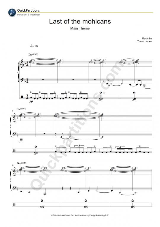 Partition piano Le dernier des mohicans - Trevor Jones