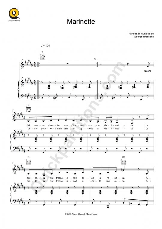 Partition piano marinette georges brassens partition - Les amoureux des bancs publics paroles ...