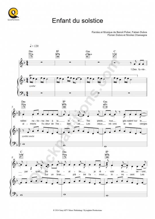 Enfant du solstice Piano Sheet Music - Kyo