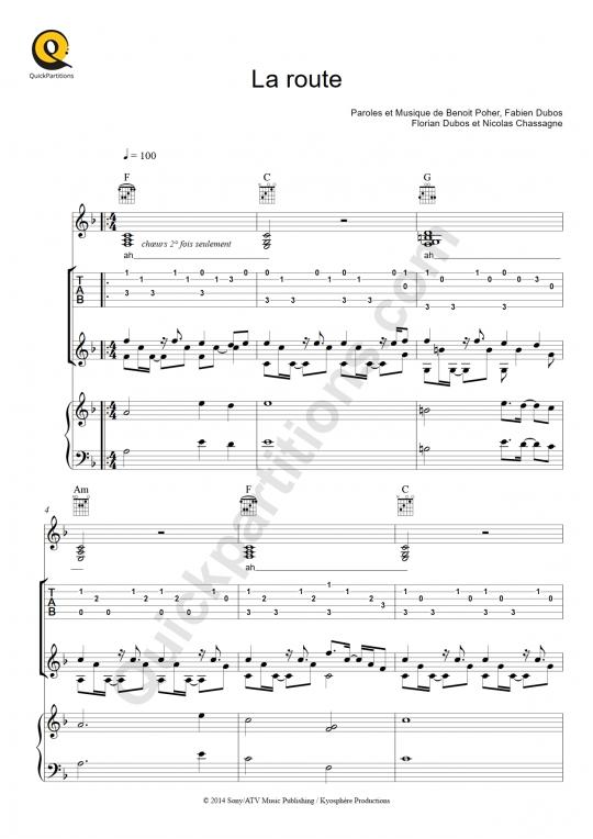Tablature Guitare La route - Kyo