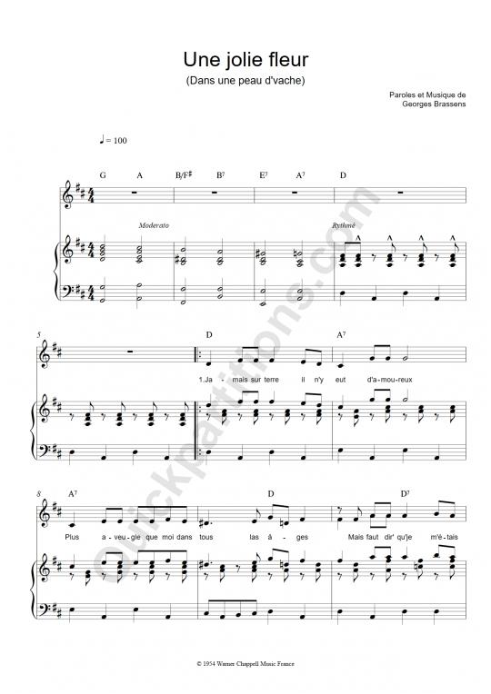 Partition piano Une jolie fleur - Georges Brassens