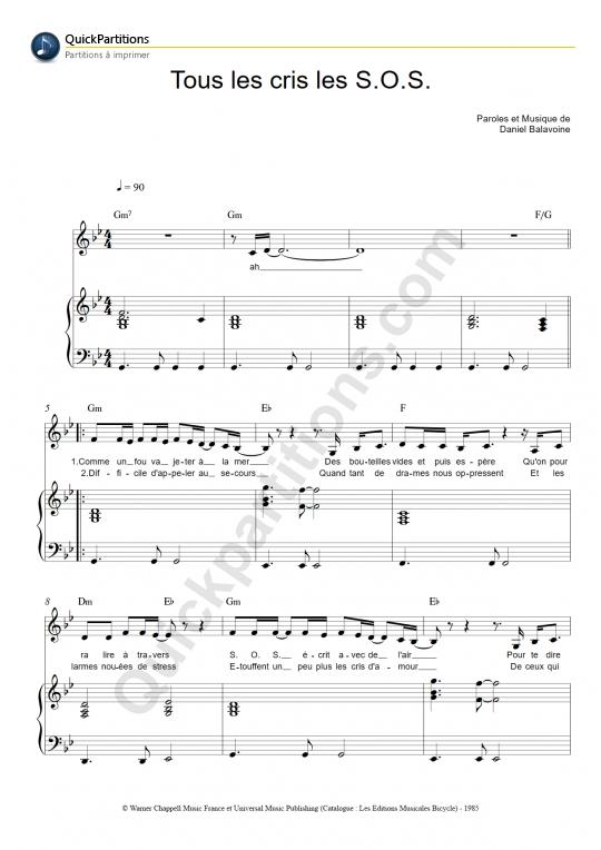 Partition Piano Tous les cris les S.O.S. -  Zaz