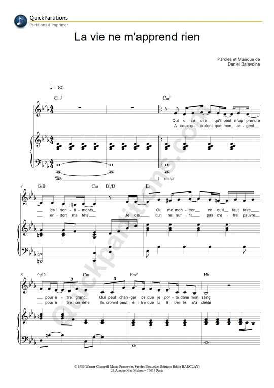 Partition piano La vie ne m'apprend rien - Liane Foly