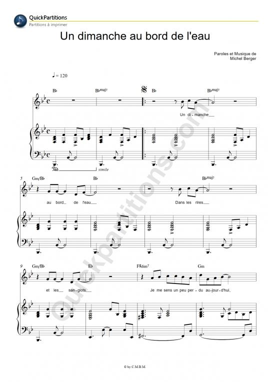 Partition piano Un dimanche au bord de l'eau - Michel Berger