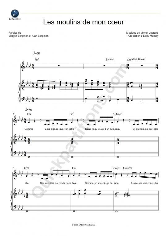 Partition Piano Les moulins de mon coeur - Michel Legrand