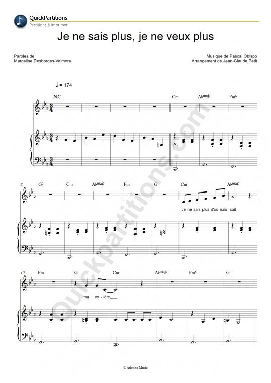 Partition piano Je ne sais plus, je ne veux plus - Pascal Obispo