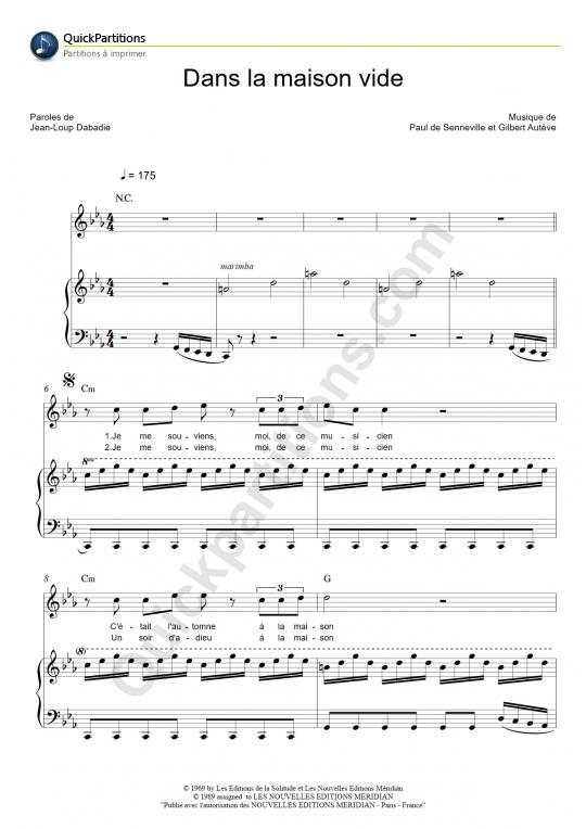 partition piano dans la maison vide michel polnareff partition digitale