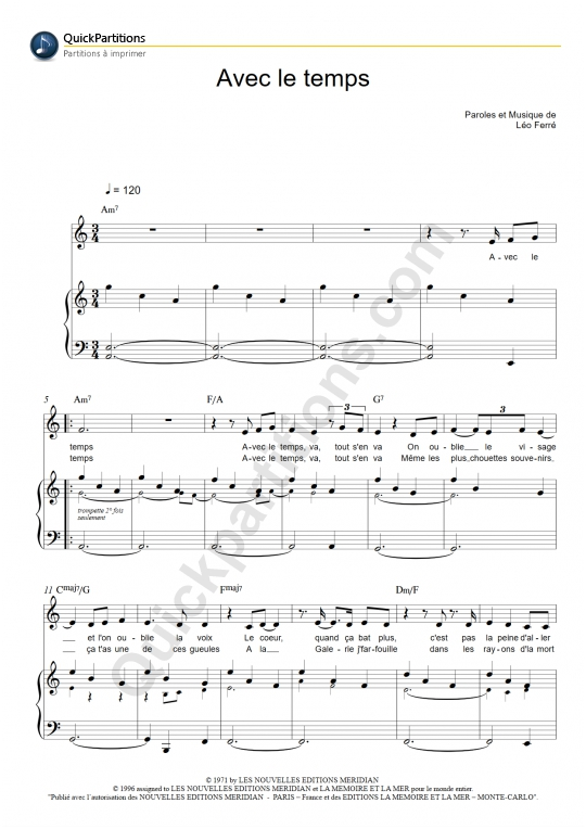 Partition piano Avec le temps - Léo Ferré