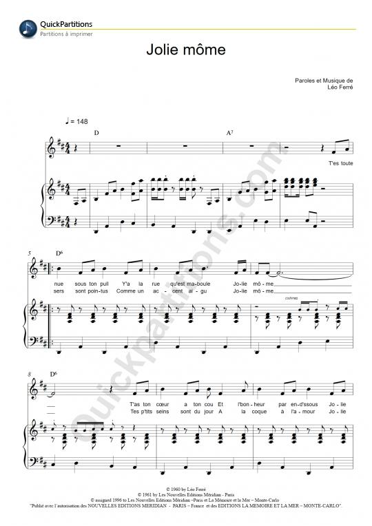 Partition piano Jolie môme - Léo Ferré