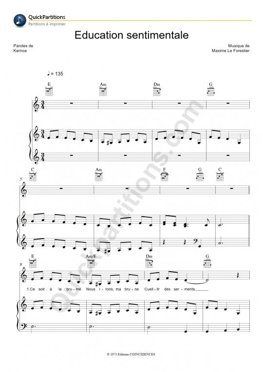 Partition Piano Education sentimentale - Maxime Le Forestier