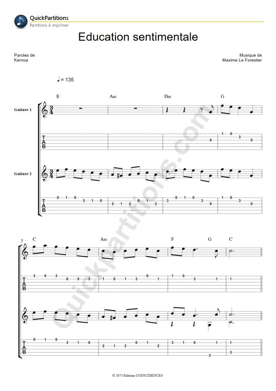 Tablature Guitare Education sentimentale - Maxime Le Forestier