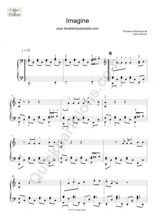 Partition piano facile Imagine -  Le Cahier Du Pianiste