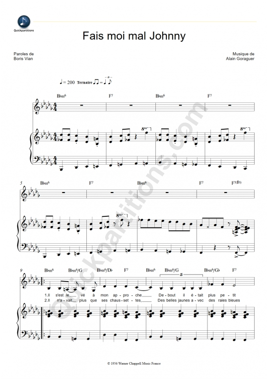 Partition piano Fais moi mal Johnny - Magali Noël