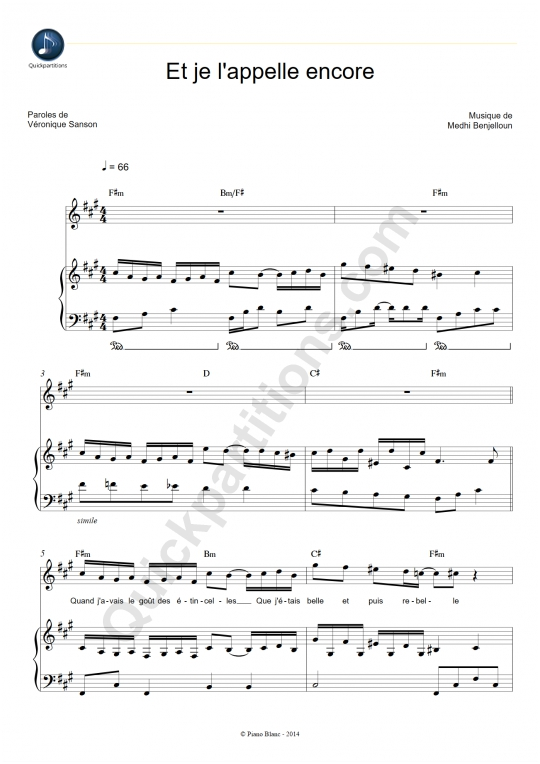 Partition Piano Et je l'appelle encore - Véronique Sanson