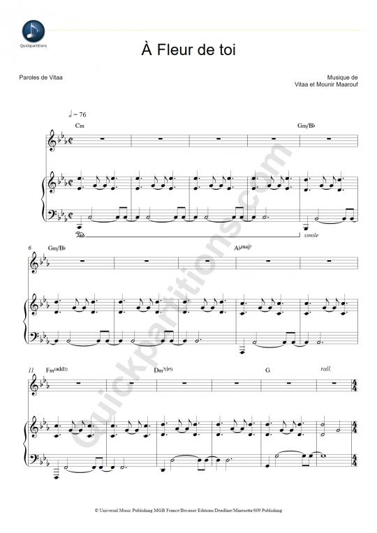 Partition piano A fleur de toi - Slimane