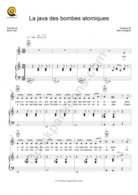 Partition piano La java des bombes atomiques - Boris Vian
