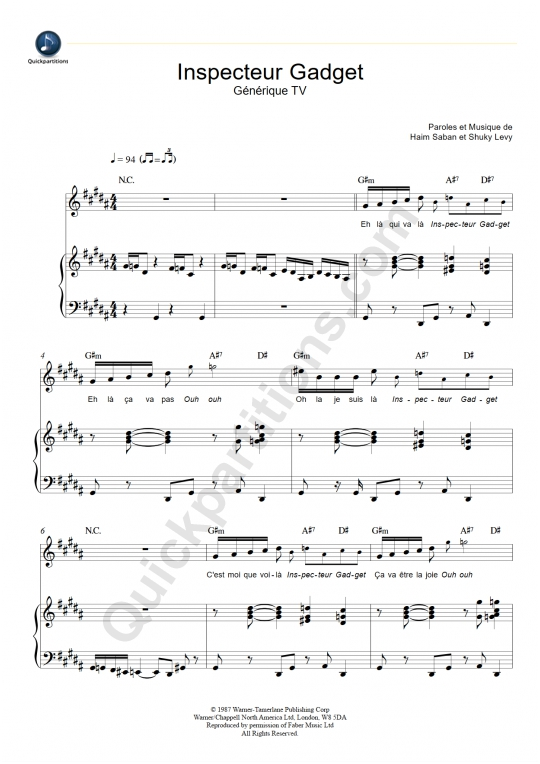 Inspecteur Gadget Piano Sheet Music - Jacques Cardona