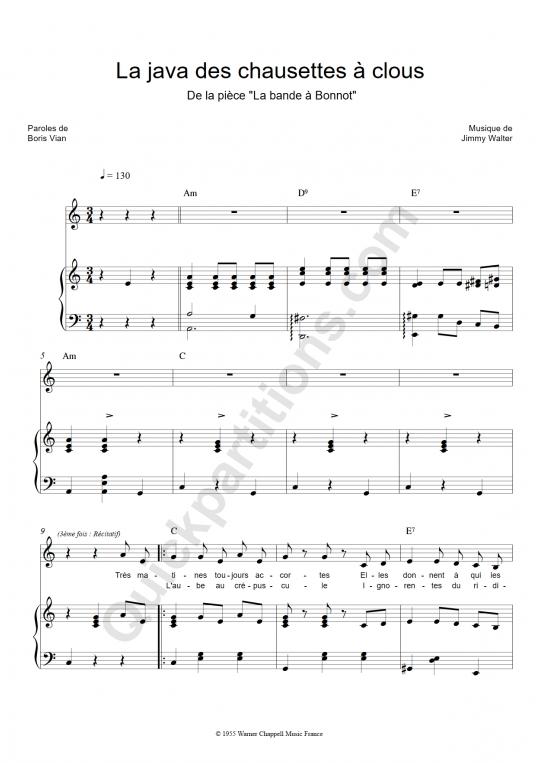 Partition piano La java des chaussettes à clous - Boris Vian