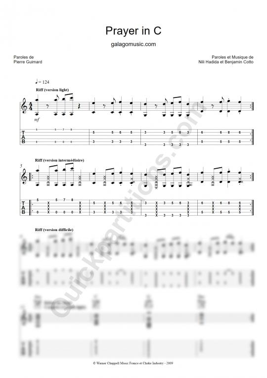 Tablature Guitare Prayer in C - Galagomusic
