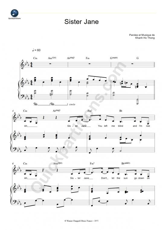 Sister Jane Piano Sheet Music - Thai Phong