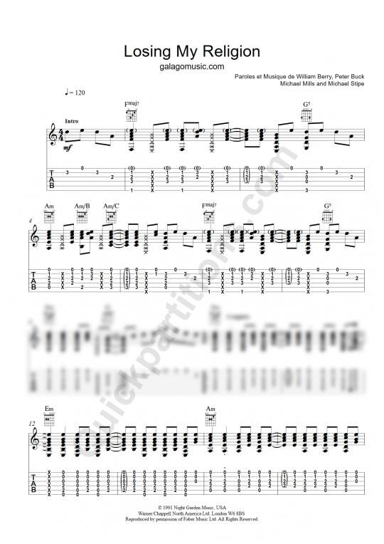 Tablature Guitare Losing My Religion - Galagomusic