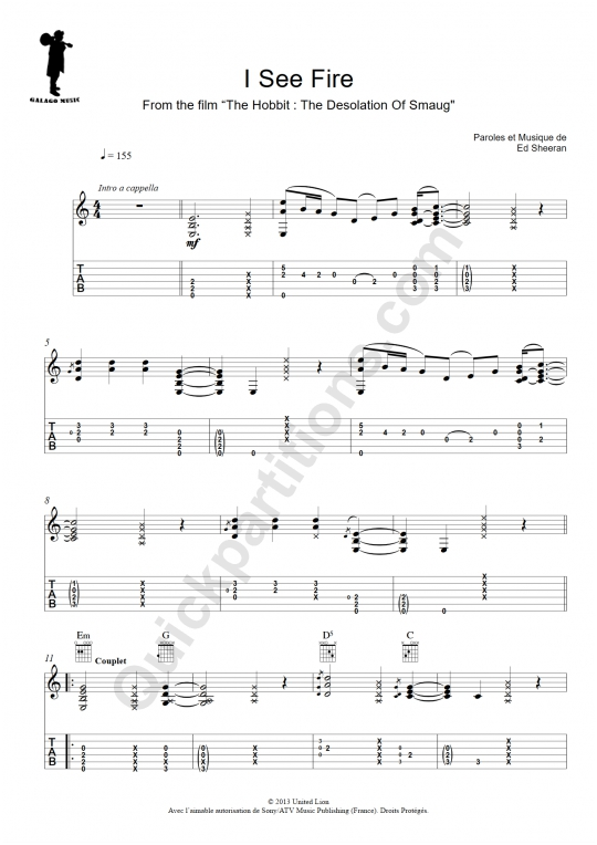 Tablature Guitare I See Fire -  Galagomusic