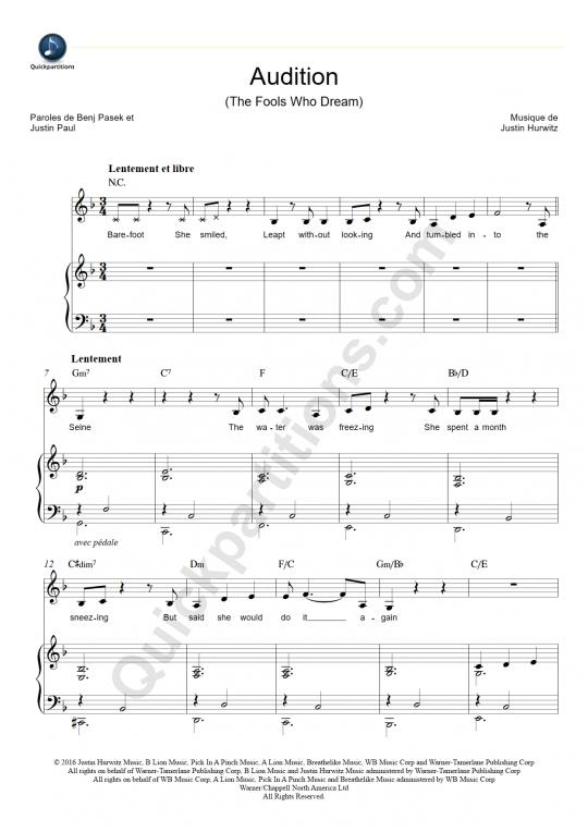 Partition piano Audition - La La Land