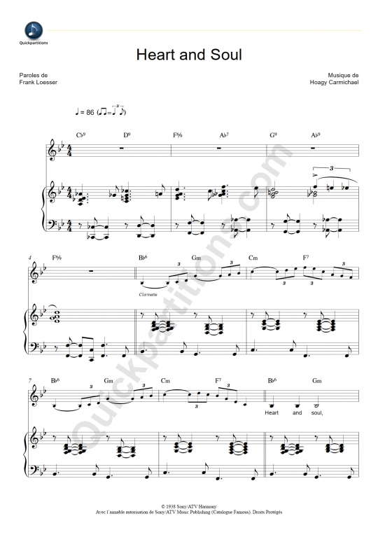 Partition piano Heart and Soul - Hoagy Carmichael