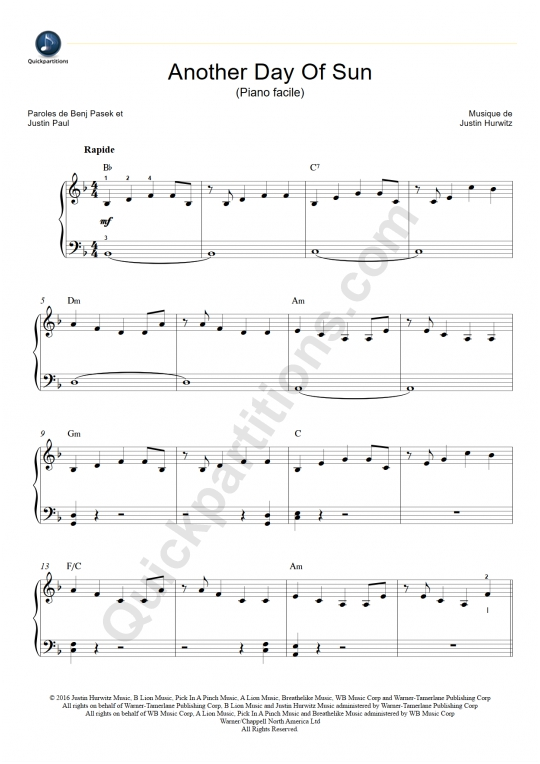 Another Day of Sun Easy Piano Sheet Music - La La Land