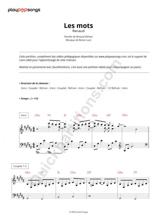 Les mots Piano Sheet Music - PlayPopSongs