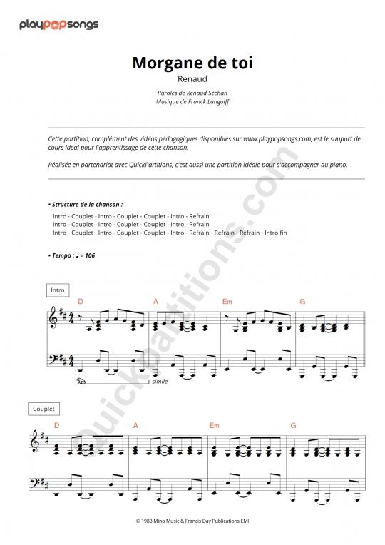 Morgane de toi Piano Sheet Music - PlayPopSongs