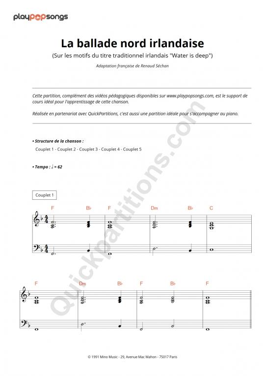 La ballade nord irlandaise Piano Sheet Music - PlayPopSongs