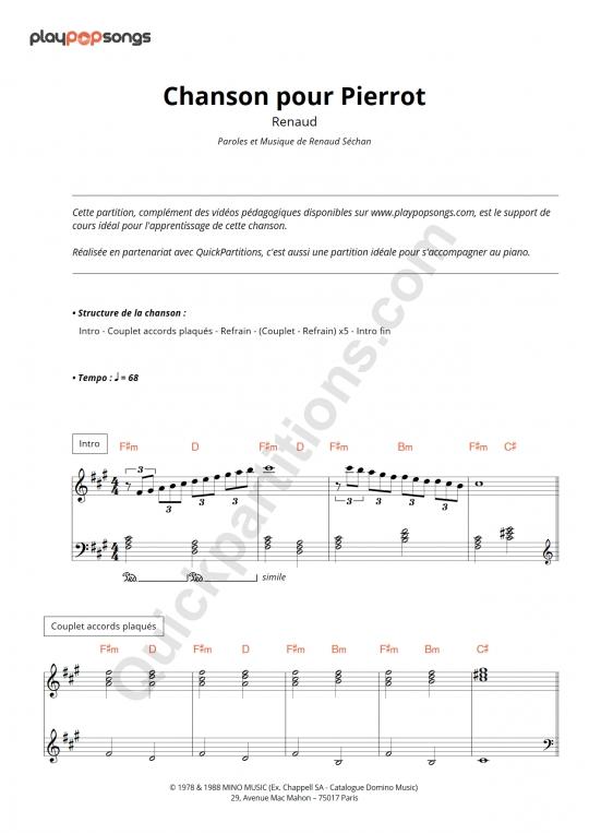 Support de cours Chanson pour Pierrot - PlayPopSongs