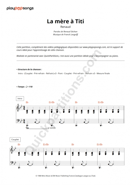 La mère à Titi Piano Sheet Music - PlayPopSongs