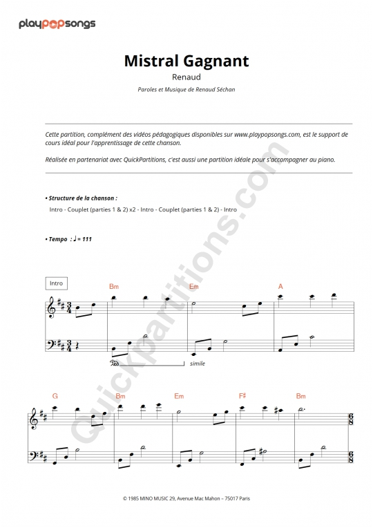 Mistral Gagnant Piano Sheet Music - PlayPopSongs