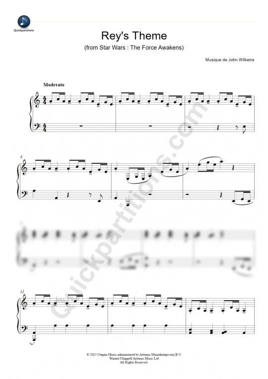 Partition piano Rey's Theme - John Williams