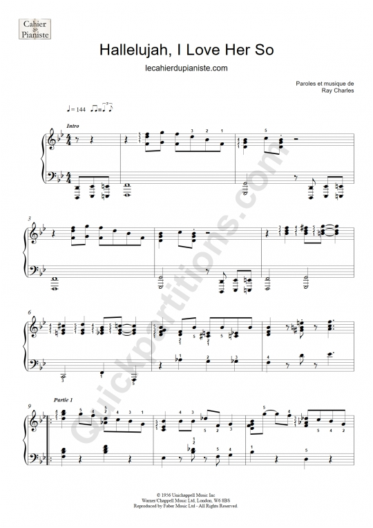 Hallelujah, I Love Her So Easy Piano Sheet Music - Le cahier du pianiste