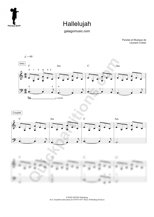 Partition piano facile Hallelujah - Galagomusic