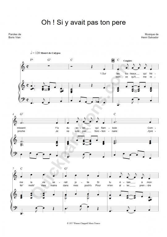 Partition piano Oh si y'avait pas ton père - Henri Salvador